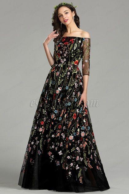 eDressit Long Black Off the Shoulder Floral Lace Dress (02181000)