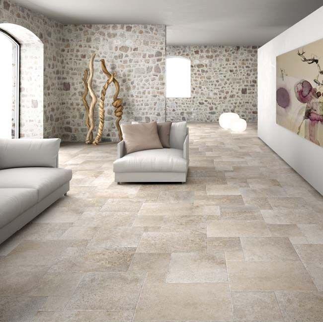 Tijdloze lichte kasteelvloer met verouderde tegel rand, die past bij een modern en klassieker interieur (48) Tegelhuys