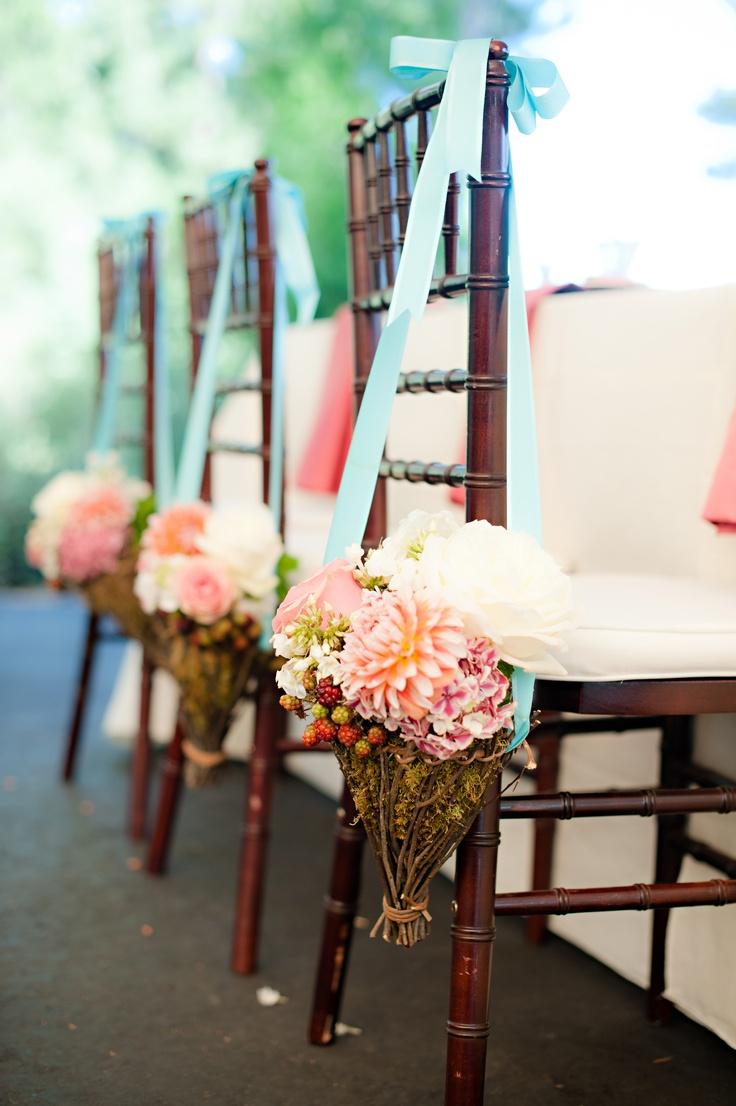 backyard wedding ceremony decoration ideas%0A Wedding Reception Chair Decor  w o the sticks tho  like the idea with the  ribbon flowers