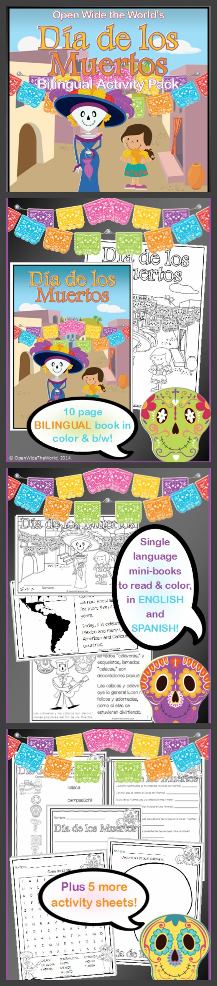 Día de los Muertos, a BILINGUAL basic introductory pack to this fun holiday. In ENGLISH and SPANISH. Book, mini-book, and activity sheets! ($)