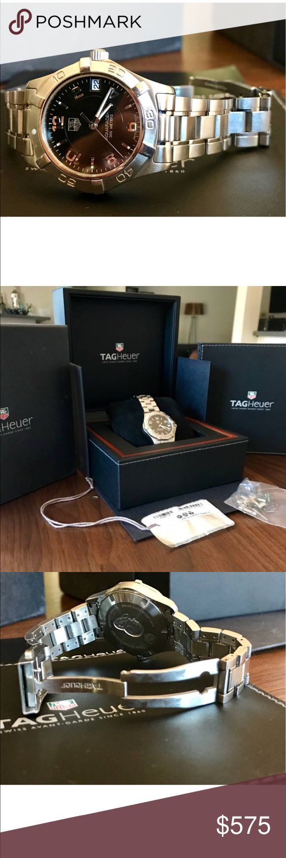 Ladies Tag Heuer watch Excellent condition with normal desk diving wear. I am the original owner and have had for  5 years.  Still have original box, paperwork, sales tag and band links. Model # WAF1310.BA0817. Stainless steel Swiss quartz Tag Heuer Jewelry