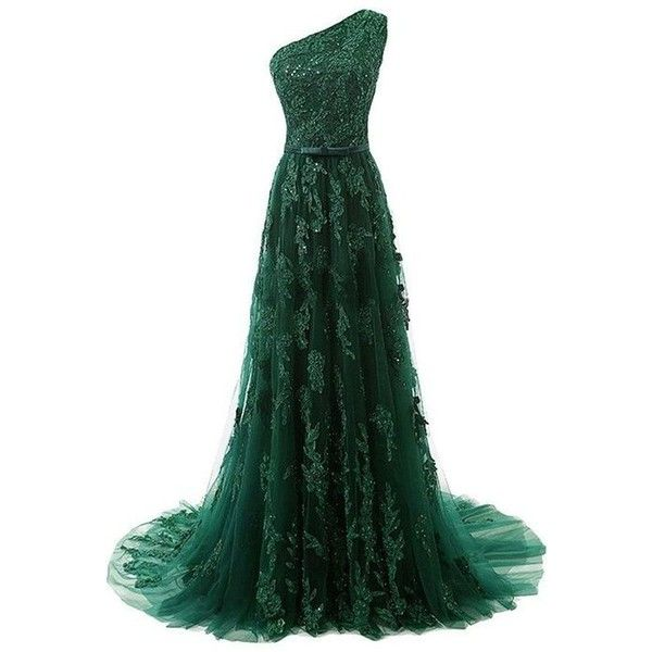 One-Shoulder Dark Green Tulle Prom Dress With Appliques Beading TP0021 ❤ liked on Polyvore featuring dresses, beaded cocktail dress, dark green prom dresses, one shoulder cocktail dress, one shoulder prom dresses and dark green dress
