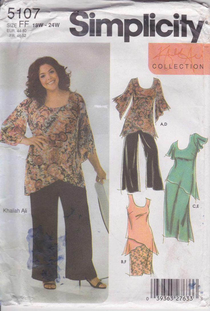 Pullover Shirt Pattern Womens Pants Diagonal Sleeve Plus Size 18 - 24  Uncut  Simplicity 5107 by PrettyfulPatterns on Etsy