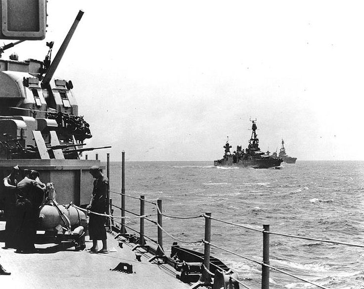 Heavy cruisers USS Wichita (foreground), USS Chicago (center), and USS Louisville (background) en route to Guadalcanal, 29 Jan 1943, hours before the Battle of Rennell Island (US National Archives)