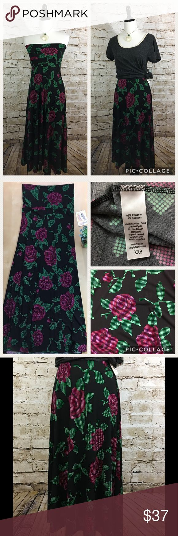 "LuLaRoe XXS Maxi Skirt NWT No flaws, black with magenta pink and green cross stitch floral pattern. Floor length flowing skirt with wide waist band. Easily converts to tube top style dress. Great for layering. Transitions effortlessly from day to night.  Size XXS fits 00-0 Waist: 13"" Length: 41"" Please review all photos thoroughly  Feel free to ask questions  🚫trades 🚫modeling requests  👍🏻reasonable offers welcome! LuLaRoe Skirts Maxi"