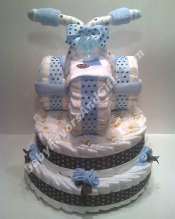 tricycle diaper cake... ok this is super cute for a baby shower!