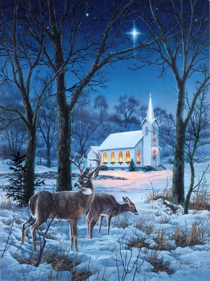 картинка с зимним пейзажем с одним домиком и оленями старинные