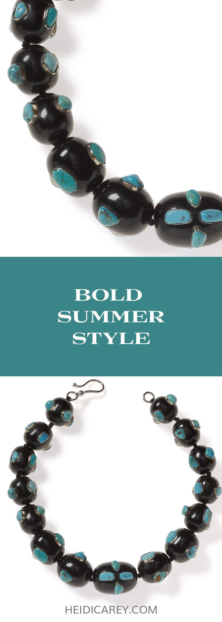 Bold summer fashion is effortless with this oversized bead necklace. Made with large black resin beads with inlaid silver holding turquoise gemstones, it's the perfect summer style statement.| Chunky statement necklace | Oversized Necklace | Big Bead Necklace | Turquoise Necklace