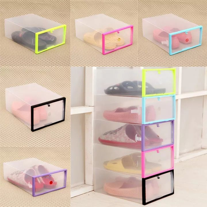 Us 0 61 28 Off Hot Sale Shoe Box Foldable Stackable Clear