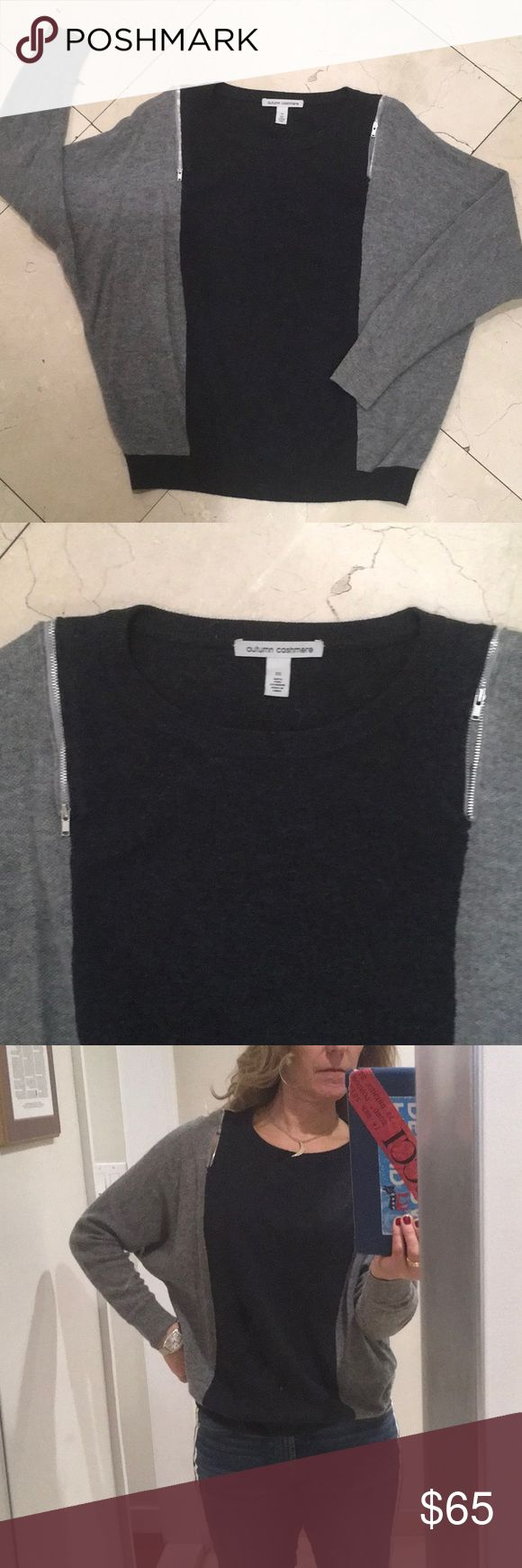 Autumn Cashmere two tone grey sweater with zippers 100% pure cashmere by  Autumn Cashmere with