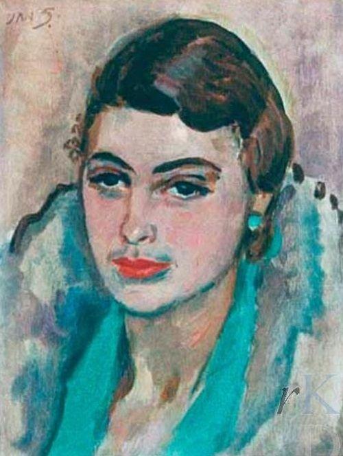 Jan Sluijters - Portret van Ina van Blaaderen (1932)