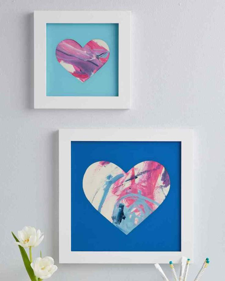 homemade Mother's Day gifts: Heart-shaped shadow box frame for children's art | Martha Stewart