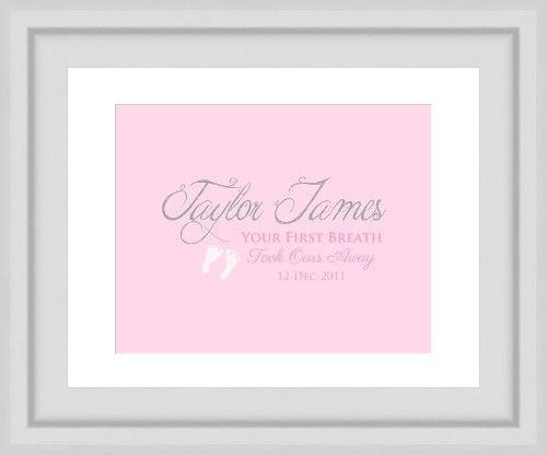 Newborn Gift Idea. Your first breath. Image customized with name and date. Gumball Prints. We create. You print & frame.