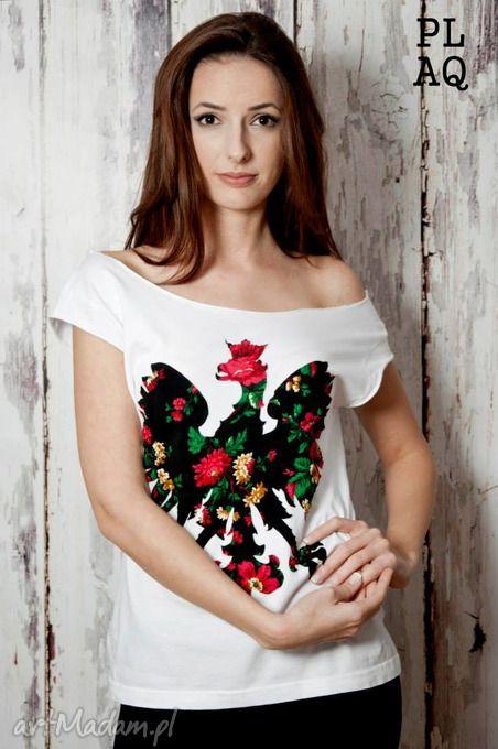T-shirt flower black polaquito koszulki folk orzeł polska folklor