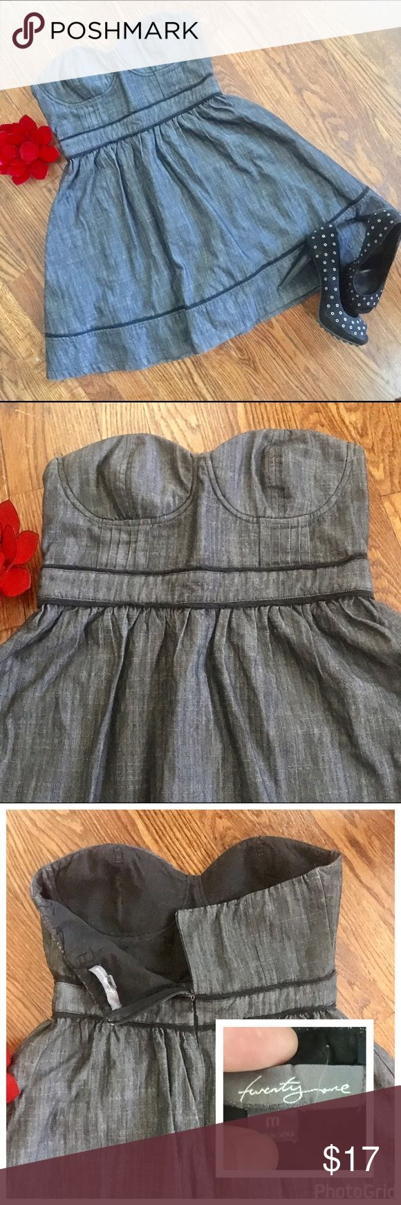 Forever 21 M gray dress pinup strapless sweetheart This hot little number is just too darling!! 😍 Gray in color with black trim (cover photo looks more blue but the true gray color is the zoomed look of the top of the dress) . Excellent preloved condition. Sz M. Forever 21 Dresses Mini