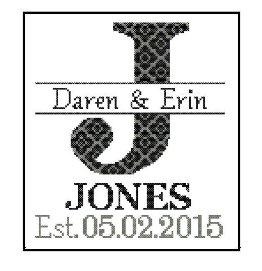 Modern wedding cross stitch Pattern Custom by ZindagiDesigns