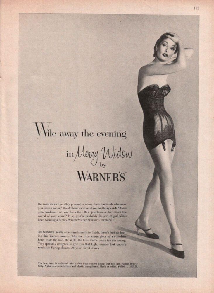 cf8cbba230 1956 Warner s Women s Merry Widow Bra Girdle Lingere Vintage Photo Print Ad   Warners