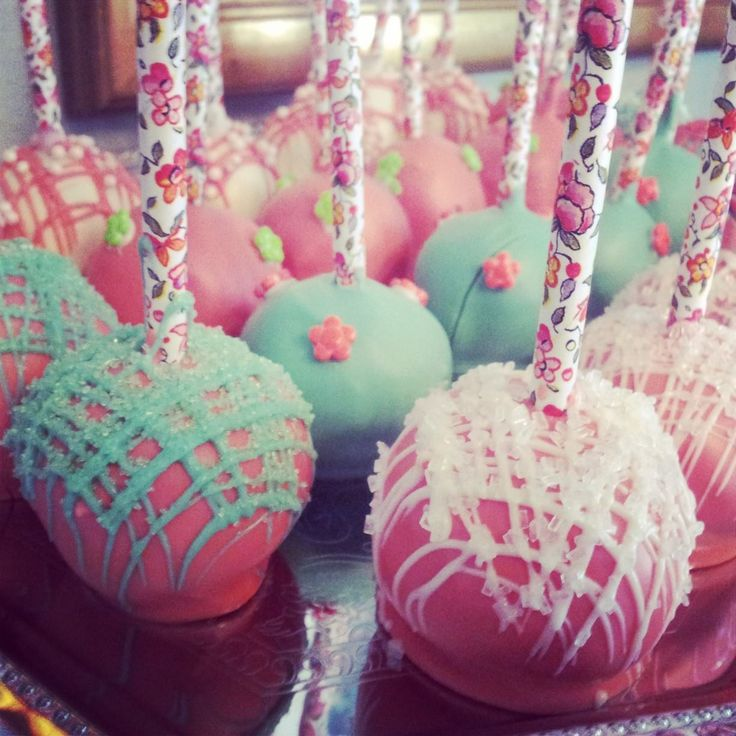 Floral Straw Cake Pops Coral Pink Mint