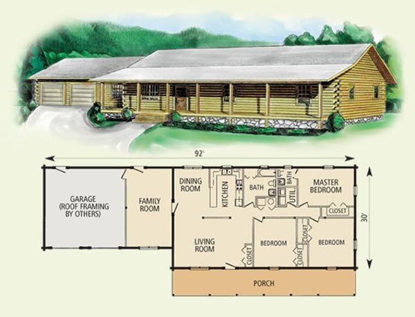 Leland log home and log cabin floor plan cabin home for 24x40 garage kit