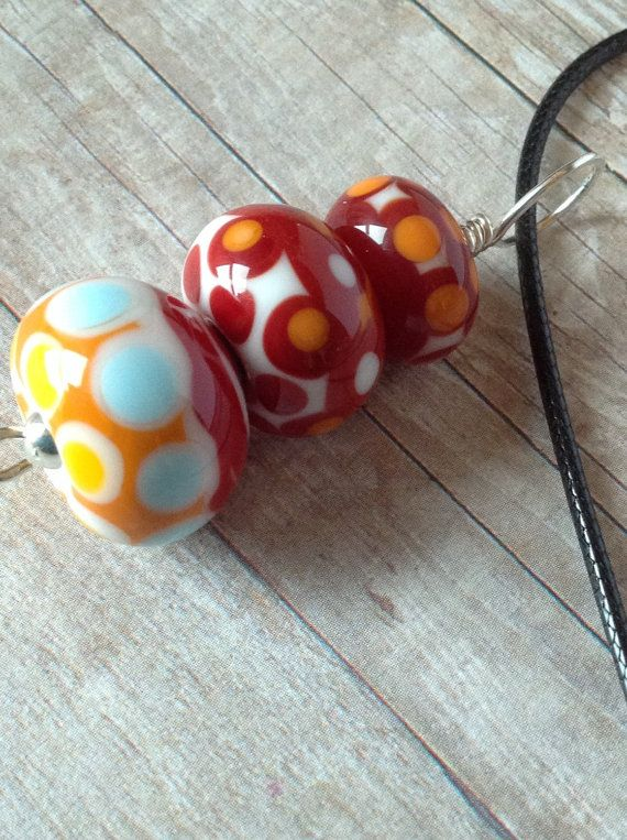 Lampwork Glass Bead Necklace  Lampwork Glass by BlueberryBayBeads