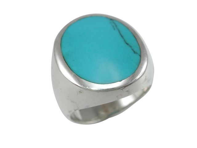 Sterling Silver 23x14mm Oval Blue Turquoise Ring