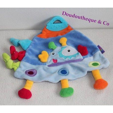 Doudou plat fusée BABYSUN martien bleu soucoupe volante triangle