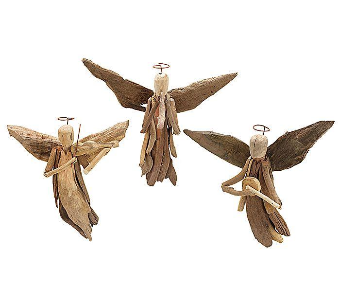 "#burtonandburton Assorted driftwood angel ornaments.<br><br>9 1/2""H X 9 3/4""W X 2 3/4""D. Sizes will vary.<br>1 assortment of 3."