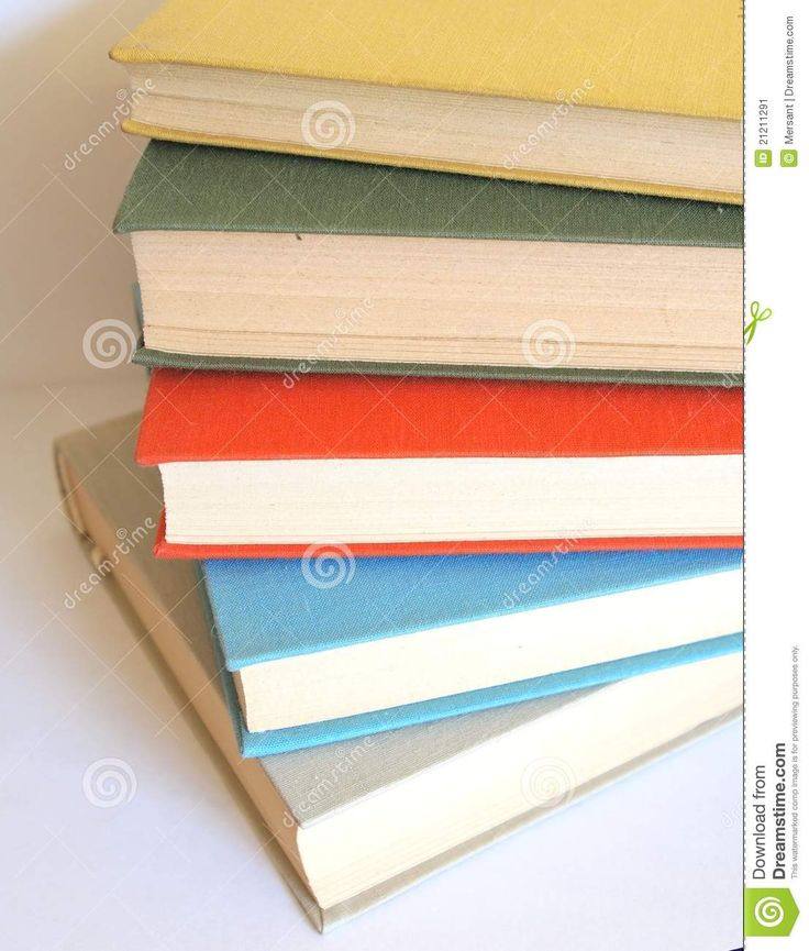 Some books with different colors on white background