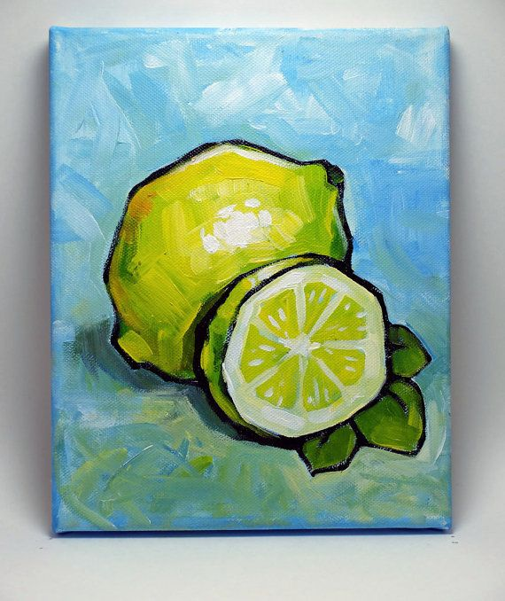 Original Acrylic Painting artwork on the 8W X 10H canvas. Fruits Painting - Lemon    Copyright ©2013 - 2015 Kai Liu. All Rights Reserved.  I retain