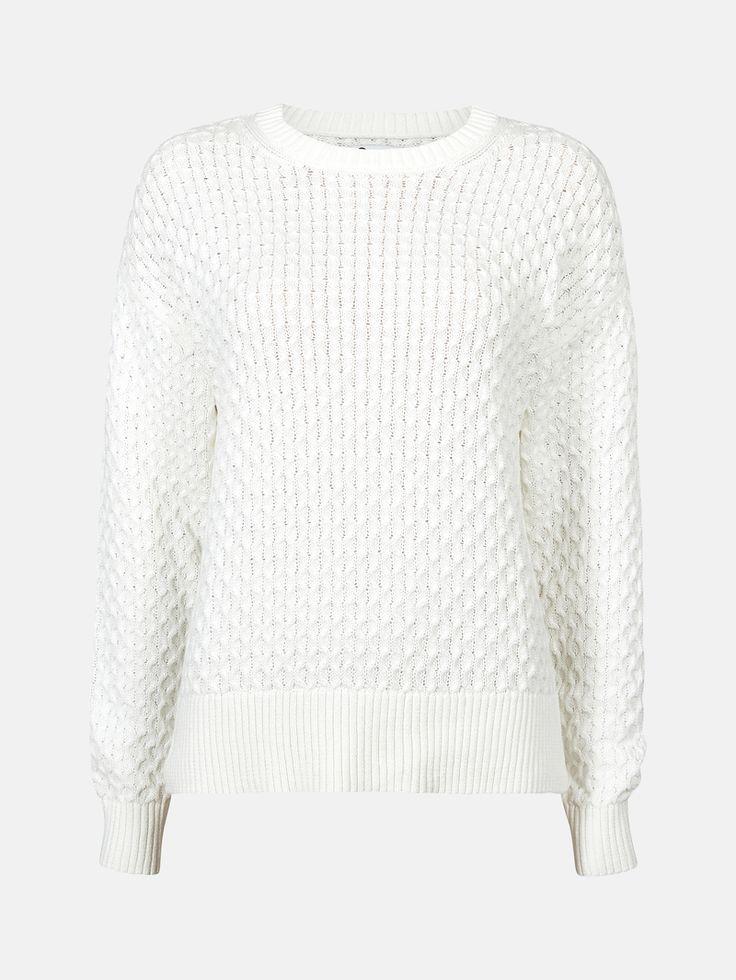 CUBUS - Lone strikket genser i Offwhite 299,-