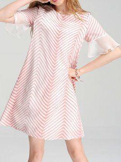 Pink Bell Sleeve Embroidered Stripes Chiffon Midi Dress