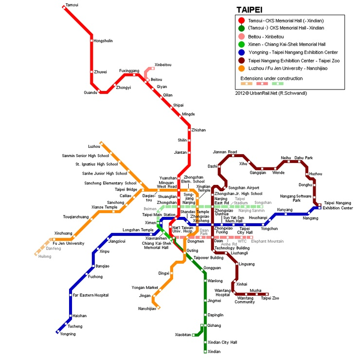 Taipei Metro Map 2002 © UrbanRail.Net