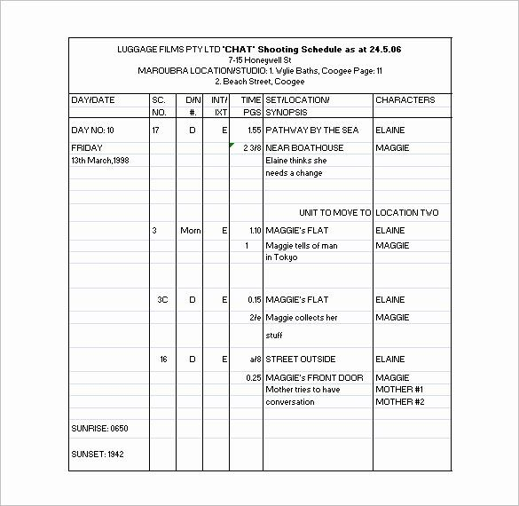 Film Production Schedule Template Lovely 11 Shooting Schedule Templates Pdf Doc Schedule Template Schedule Templates Preschool Lesson Plan Template