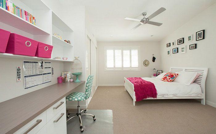 60 идей комнаты для девочки-подростка: цвет, зонирование, аксессуары http://happymodern.ru/komnata-dlya-devochki-podrostka/ Светлая просторная спальня с яркими предметами интерьера