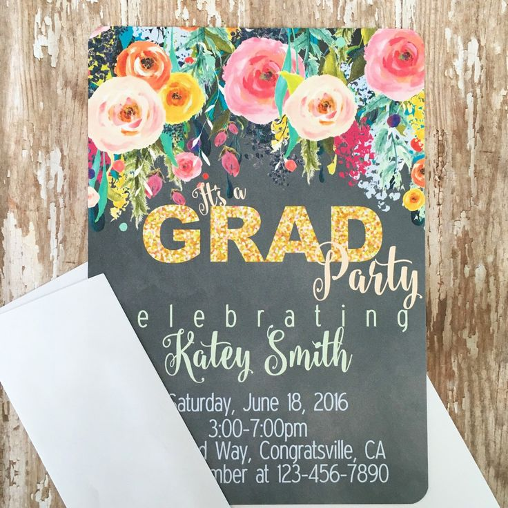 12 floral chalkboard graduation party invitations printed