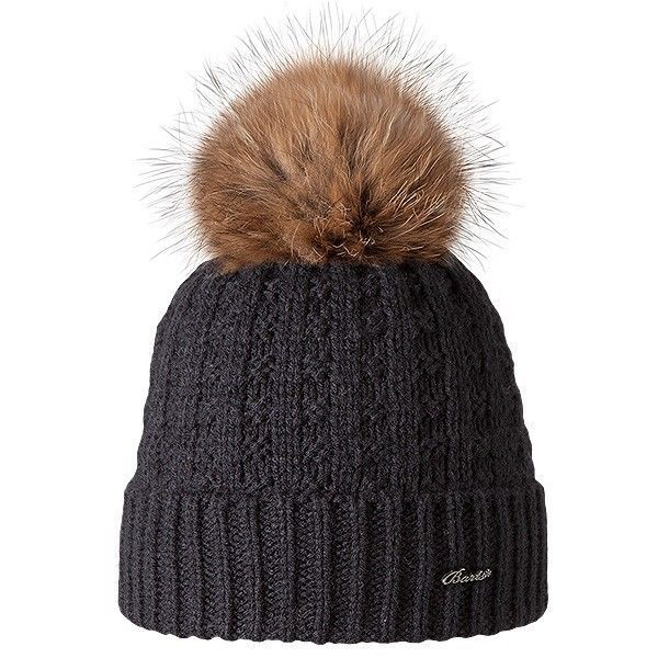 Barts Filippa Women Beanie Bobble Hat Real Fur Bobble Knitted Winter Black in Clothes, Shoes & Accessories, Women's Accessories, Hats | eBay