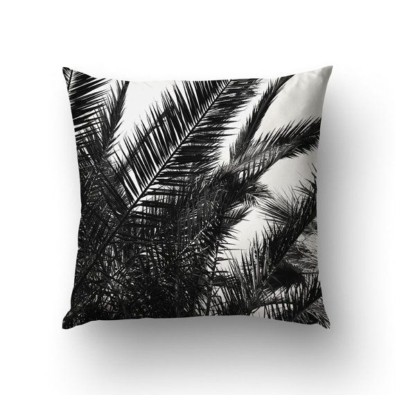Palm Leaf Pillow Tropical Pillows Black And White by Macrografiks