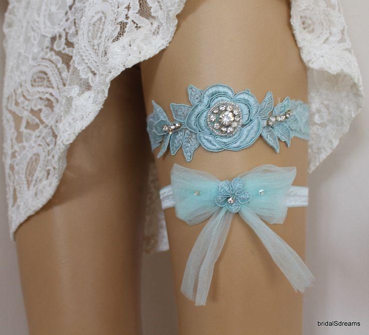 Mint Green Lace Bridal Garter Set For Bride