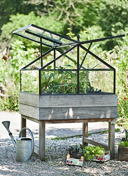 An allotment in table form with its own greenhouse for homegrown vegetables all year round.