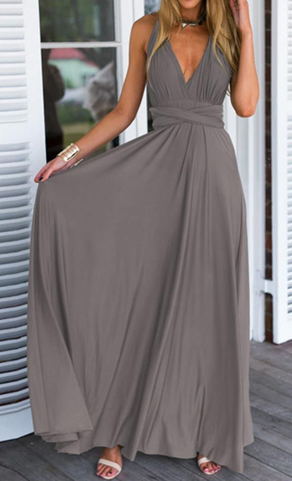 Solid Color Free Matching Maxi Dress. Sexy gray long maxi dress.