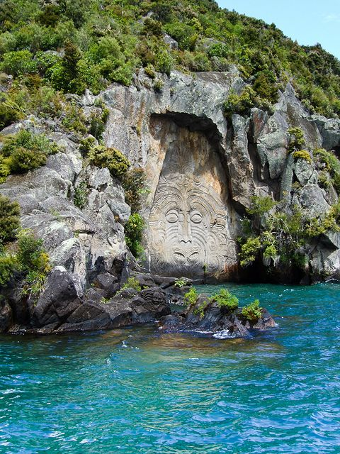 Lake Taupo Carvings    Maori rock carvings at Mine Bay on Lake Taupō, over 10 metres high and are only accesable by boat or Kayak.