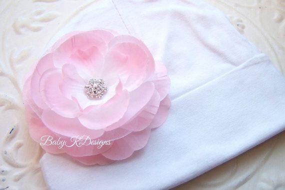 OLIVIA Flower Newborn Beanie / Baby Beanie Pink & White / Girls Hat / by Baby K Designs