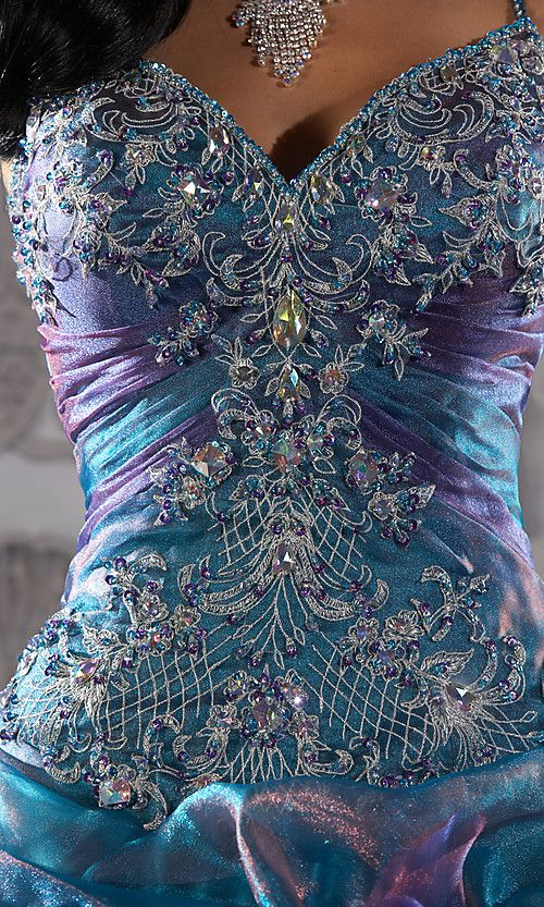 OMG!!! <3 the colors, material, crystals! Tags : Quinceanera Dress.  Spaghetti Straps.  Quinceanera Gown