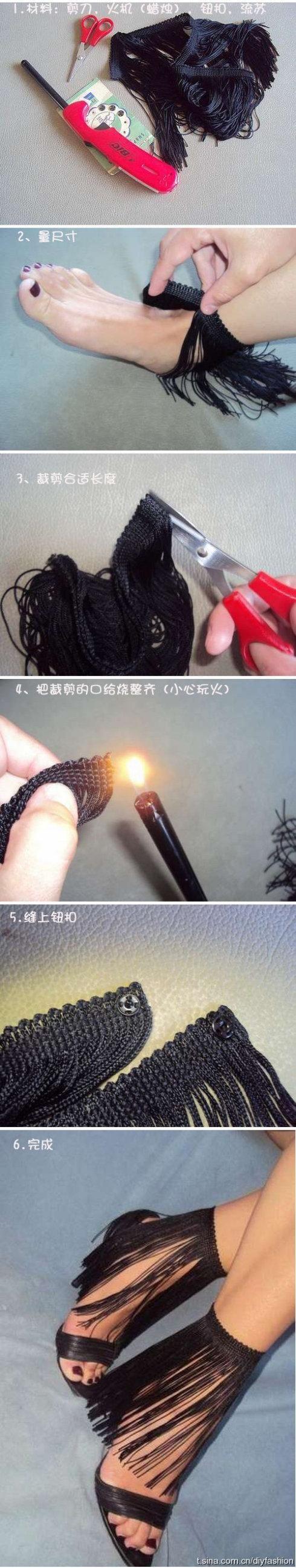 DIY Fringed Shoes