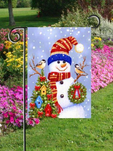 "Stocking Cap Snowman - Garden Size 12 Inch X 18 Inch Decorative Flag by Custom Decor. Save 50 Off!. $9.95. Garden Flag Outdoor Décor. Flag Measures Approximately 12"" x 18"". 100% Polyester - Fade & Mold Resistant. Permanently Dyed with a Vivid Color Process. Bright Beautiful Artwork. STOCKING CAP SNOWMAN Birds heat sublimated (printed) garden flag.  Finely detailed artwork from top artists printed on durable, weather-resistant fabric.  Design can be seen clearly from either side (rev..."