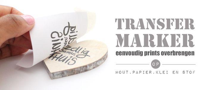 De Transfermarker is een stift met een speciale vloeistof die de eigenschap heeft printertoner op te lossen, net lang genoeg om van een printje over te brengen op een andere ondergrond. Zo breng je dus een afbeelding over op papier, stof, hout en zelfs op droge klei.