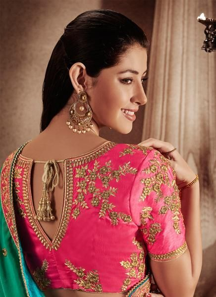 Pink With Shaded Green Jacquard Partywear Saree