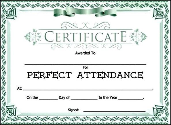Attendance Award Certificate Template | Sample Templates