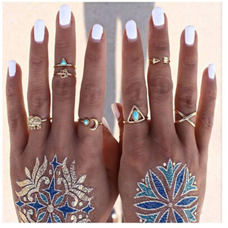 2016 New trendy Pierścień 7 sztuk/zestaw Moda Gypsy Bohemia Charm biżuteria maxi Pierścień dla kobiet