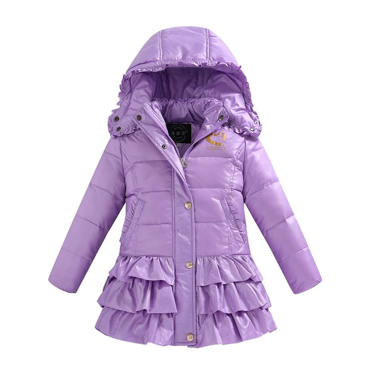 ==> [Free Shipping] Buy Best thick baby girl down coat fashion solid purple down overcoat for 4-10yrs girls children kids Winter jacket outerwear clothes Online with LOWEST Price | 32717020928